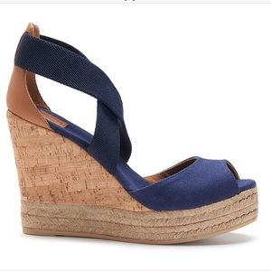 TORY BURCH Peep Toe Platform Cork Wedge Sandals